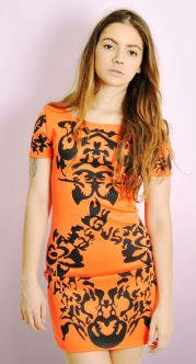 Orange Pattern Celebrity Dress